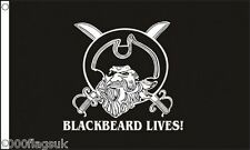 Pirate Jolly Roger Skull and Crossbone Edward Teach Blackbeard Lives 5'x3' Flag