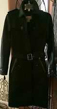 NEW Burberry Brit Earsdale Leather-Sleeve Trenchcoat BLACK RET: $1995.00 Size 2