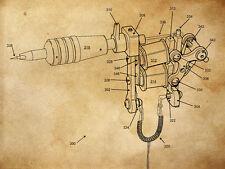 """Vintage Tattoo History Tattoo Machine 1891 Patent  14 x 11"""" Photo Print"""