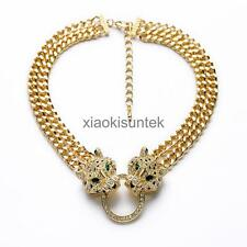 Women Gold Leopard Fashion Necklace Tiger Head Pendant Necklace Jewelry