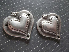 Raised and Textured Silver Hearts Charms Connectors Pendants or Earring Findings