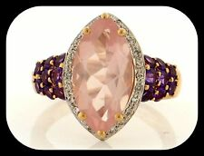 NEW Simon Golub 14K Yellow Gold 5.66CT Rose Quartz, Amethyst & Diamond RING