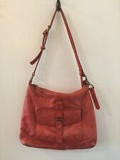 LUCKY BRAND LEATHER HANDBAG ORANGE BUTTERY LEATHER SIZE M