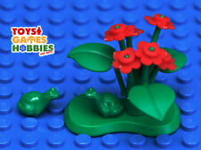 *NEW* LEGO Custom Lily Pad with 2 Frogs Red Flowers Leaves Stems Lilypad Toad