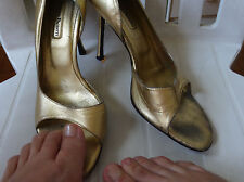 Cesare Paciotti well-worn golden sexy pumps heels 100% leather stiletto open toe