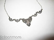 ANTIQUE GERMAN STERLING SILVER & MARCASITE ART DECO BIB CHOKER NECKLACE