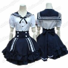 Women's Navy Sailor Suit Japanese Maid Lolita tops & Skirt Cosplay One Size