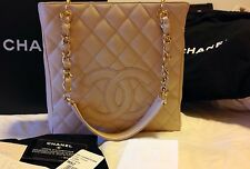 AUTHENTIC CHANEL CLASSIC QUILT PST PETITE TOTE BAG BEIGE NUDE CAVIAR GOLD $2400+