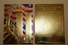 WORLD TRADE CENTER 9/11 First Anniversary 2002 Gold Card Stars & Stripes *BOGO*