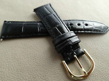 New Glossy Black Bamboo Crocodile Grain 18mm SHORT Genuine Leather Watch Band
