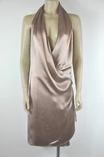 Hermes Mauve Wrap Around Liquid Silk Halter Dress Size 34