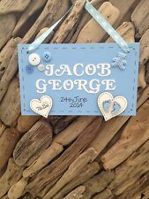 Personalised New Baby Boy Newborn Plaque Christening Keepsake Gift Name Weight