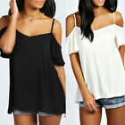 BOHO NEW LADIES WOMENS STRAPPY CAMI FRILL SLEEVE VEST SWING TOP UK 8-20