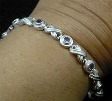 .925 STERLING SILVER XOXO Hugs Kisses Faceted AMETHYST Sparkling BRACELET