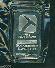 5 Oz. PAN AMERICAN SILVER BAR 0.999 FINE BULLION !!!!!!