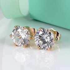 18k Yellow Gold Filled Earrings ear stud 9mm gemstone CZ GF Women's  Jewelry