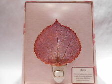Real Aspen Leaf Night Light Copper Iridescent Precious Metals Filigree Gift Box