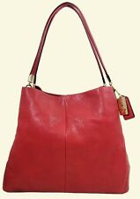 COACH 26224 MADISON PHOEBE Loganberry  Leather Satchel Bag Msrp$358