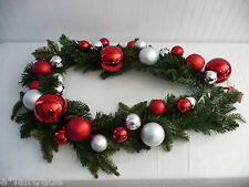 """POTTERY BARN Outdoor 60"""" RED/SILVER Ornament Pine Garland, NEW IN BOX, SEVERAL"""
