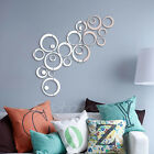 Fashion Circles Mirror Style Removable Decal Vinyl Art Wall Sticker Black Silver
