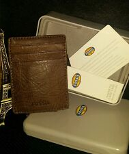 NEW FOSSIL DARREN MAGNETIC CARD CASE BROWN FRONT POCKET MONEY CLIP MEN WALLET