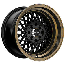 4-NEW Ruff R362 15x8.5 4x100/4x114.3 +17mm Black/Bronze Wheels Rims