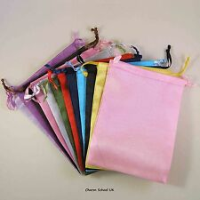 "12 SATIN ORGANZA GIFT BAGS 4"" X 6"" 102mm X135mm  - MIXED COLOURS"