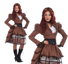 Ladies Sexy Steampunk Vicky Hoop Skirt Fancy Dress Costume Victorian Outfit