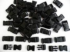 50 x Black Plastic Side Release Buckle fastenings,webbing,paracord etc. 15mm