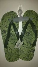 AEROPOSTALE MEN'S FLIP FLOPS ARMY GREEN WITH PALM TREES SIZE LARGE 10-11