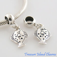 HALIBUT FLOUNDER FLAT FISH .925 Solid Sterling Silver EUROPEAN Dangle Bead Charm
