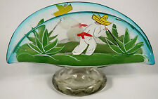 Mexican Glass Napkin Holder Hand Blown/Painted Folk Art Collectible Mexico