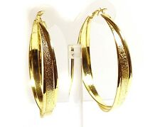 LARGE 2.75 INCH GOLD TONE HOOP EARRINGS FROSTED TWIST THICK CAST HOOPS