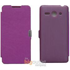 Funda Morada Libro Tapa Flip Cover Cierre Iman Para Huawei Ascend Y530 Case