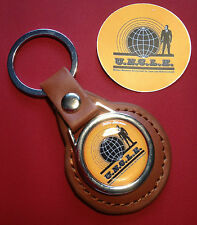 THE MAN FROM U.N.C.L.E. LEATHER KEY RING & MAN FROM UNCLE STICKER