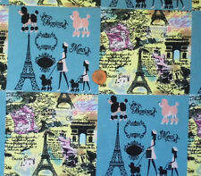 BONJOUR BLUE - PARIS THEMED SQUARES IN BLUE & YELLOW- LINEN LOOK COTTON F.Q.