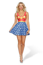 Sexy Wonder Woman Cosplay Costume Vest Mini Dress Wavy Skirt Stretchy Outfit New