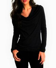 JAMES PERSE DRAPE NECK TOP Black Cowl Long Sleeve Tee M 2
