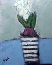 White Hyacinth : Original Impressionist Oil Painting on Board : Shaun Viney