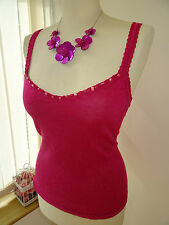 New Pretty Ladies Phase Eight Cerise Pink Linen Crochet Bead Vest Top UK Size 14