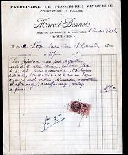 """BOURGES (18) PLOMBERIE COUVERTURE ZINGUERIE TOLERIE """"Marcel BONNET"""" en 1937"""
