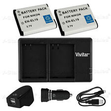 2X EN-EL19 Replacement Battery & USB Dual Charger +AC/DC for Nikon S33 S32 S6800