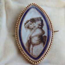 Rare Georgian Scottish Gold & Enamel Sepia Mourning Pendant Brooch c1792 in Case