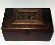 ANCIENNE BOITE A BIJOU COUTURE PLAQUE CUIVRE ANTIQUE JEWELRY SEWING BOX
