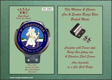 Royale Classic Car Scooter Badge & Desmo Bar Clip ST CHRISTOPHER BLUE B1.2581
