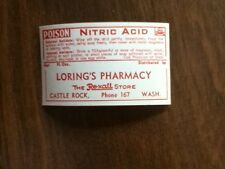 100 Vintage Nitric Acid Labels, Poison, Loring's Pharmacy, Castle Rock, WA