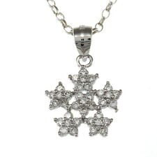 "Sterling Silver Snowflake Pendant Necklace with 18"" Chain & Gift Box"