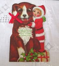 BUDDY BOW-WOW Vintage Die-Cut Christmas Card BOOKLET Dog Story