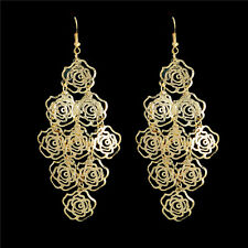 18k Gold/Silver Rose Flower Chandelier Dangle Hook Earrings