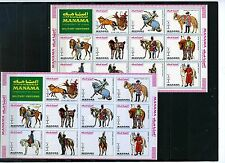 MANAMA 1972 MILITARY UNIFORMS/HORSES 2 SHEETS OF 11 STAMPS PERF.& IMPERF.MNH